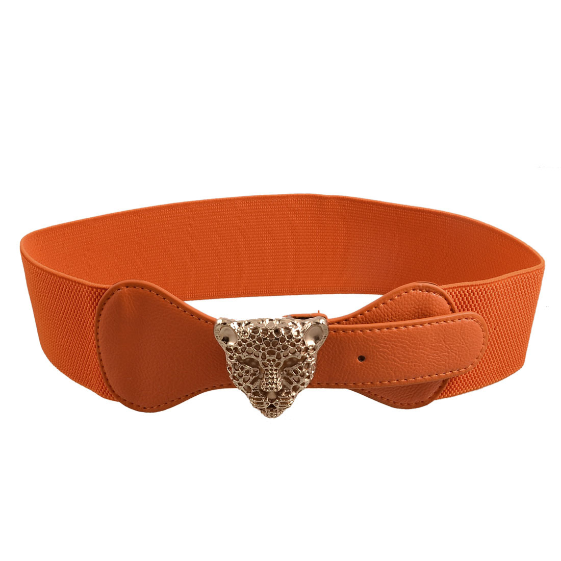 Women Press Buckle Hollow Leopard Head Accent Orange Elasticated Waistband Belt