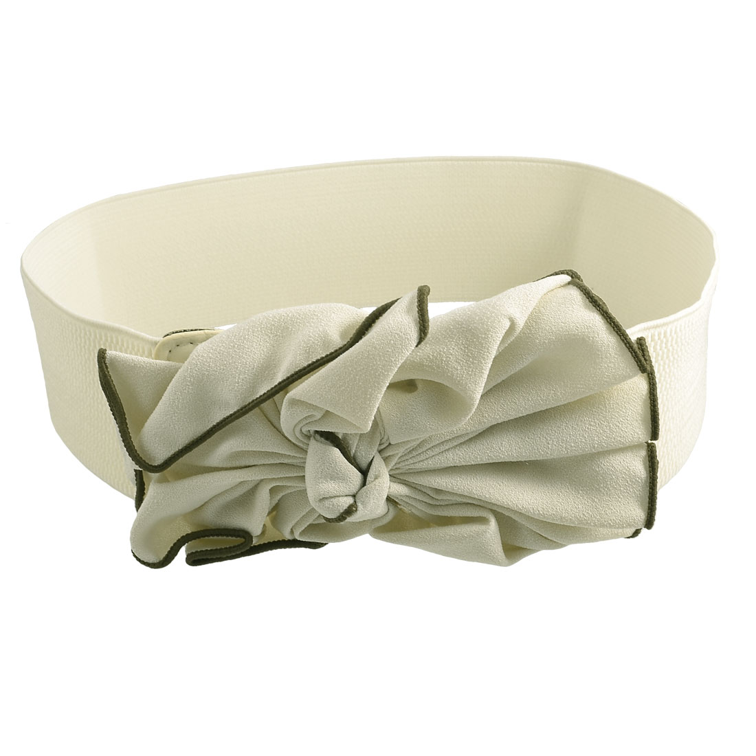 Ladies Beige Trim Ripple Bowknot Accent Press Stud Elastic Waist Band Belt