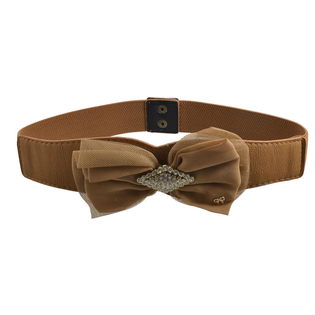 Rhinestone Bowknot Detailing Press Stud Button Brown Elastic Waist Belt