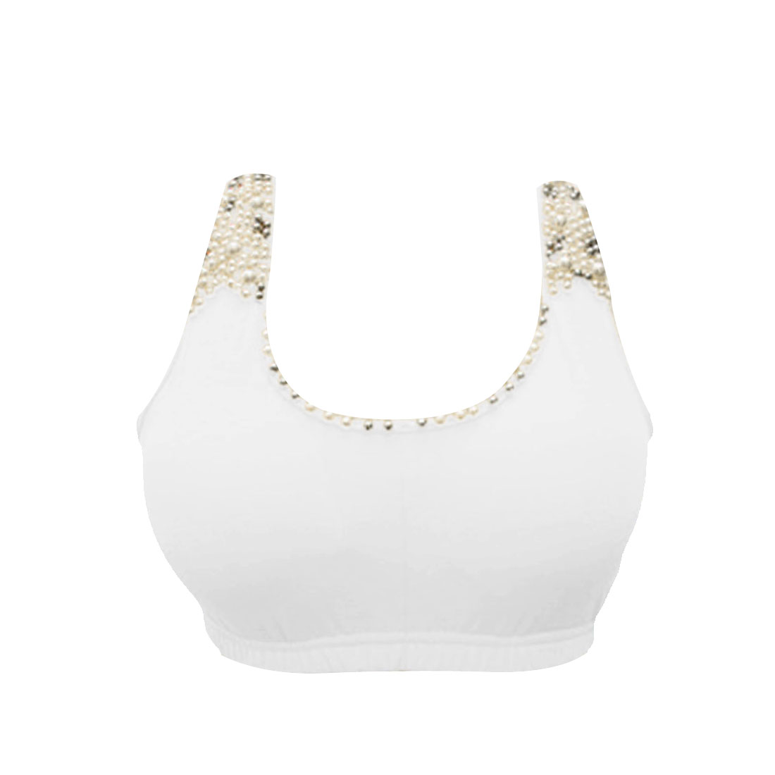 Ladies White Plasitc Pearl Decor Stretch Hem Sport Tube Bra Top XS