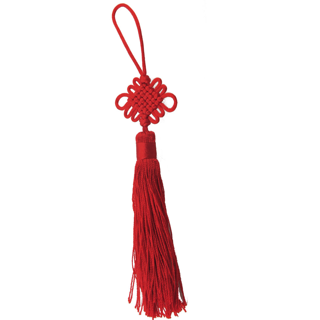 Red Nylon Handmade Tassel Decor Chinese Knot Hanging for Car Truck