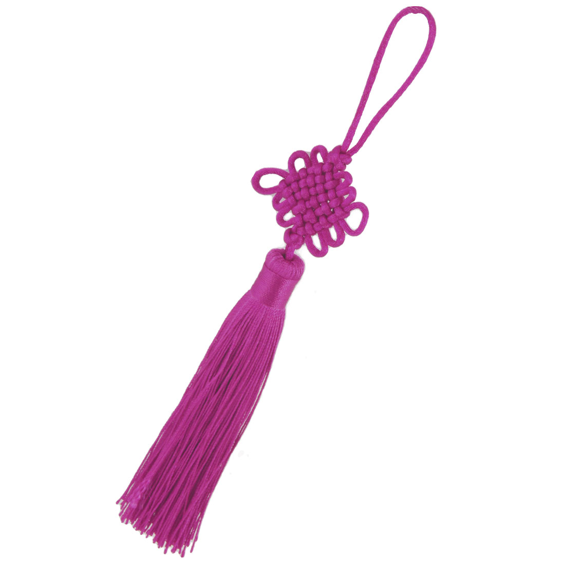 Fuchsia Nylon Braid Tassel Decor Chinese Knot Hanging for Car Truck