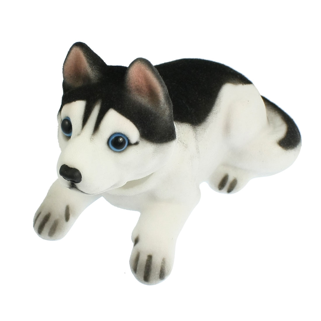 Car Auto White Black Husky Nodding Dog Decoration w Fragrant Beads