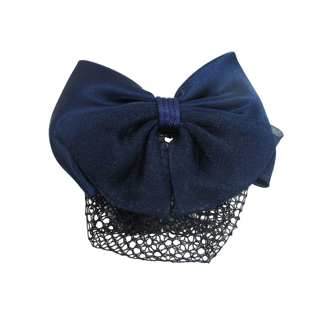 Women Blue Polyester Bowknot Barrette Snood Net Metal Hair Clip