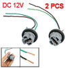 2 Pcs T20 7443 LED Bulb Brake Signal Light Socket Harness Wire Ash Blue