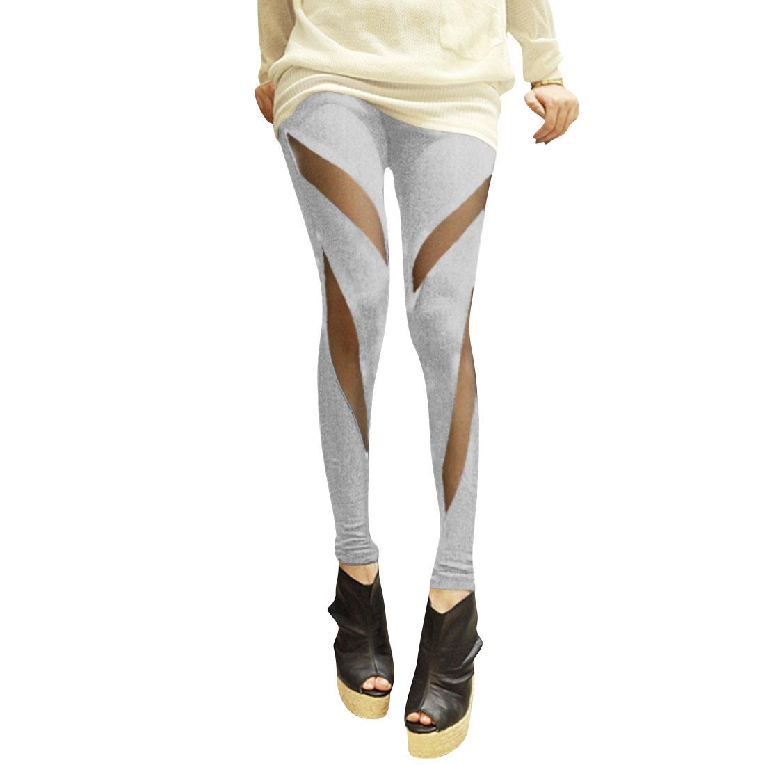 Woman Elastic Waistband Splicing Net Casual Tight Legs Open Gray Leggings XS