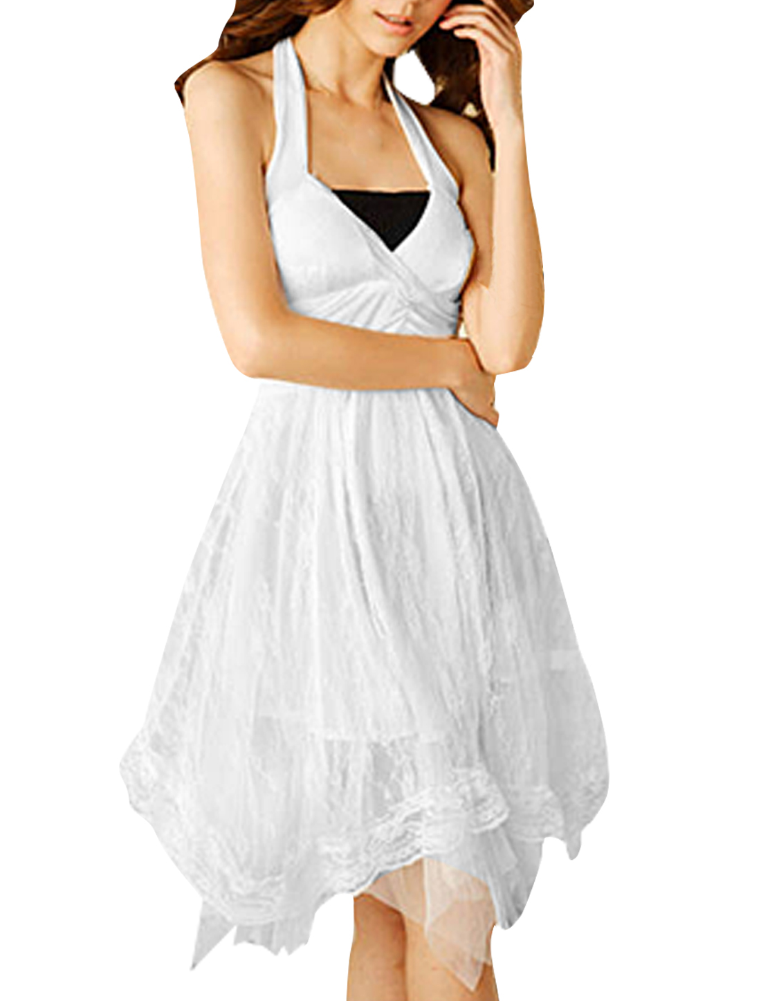 Women Deep V Neck White Halter Style White Dress M