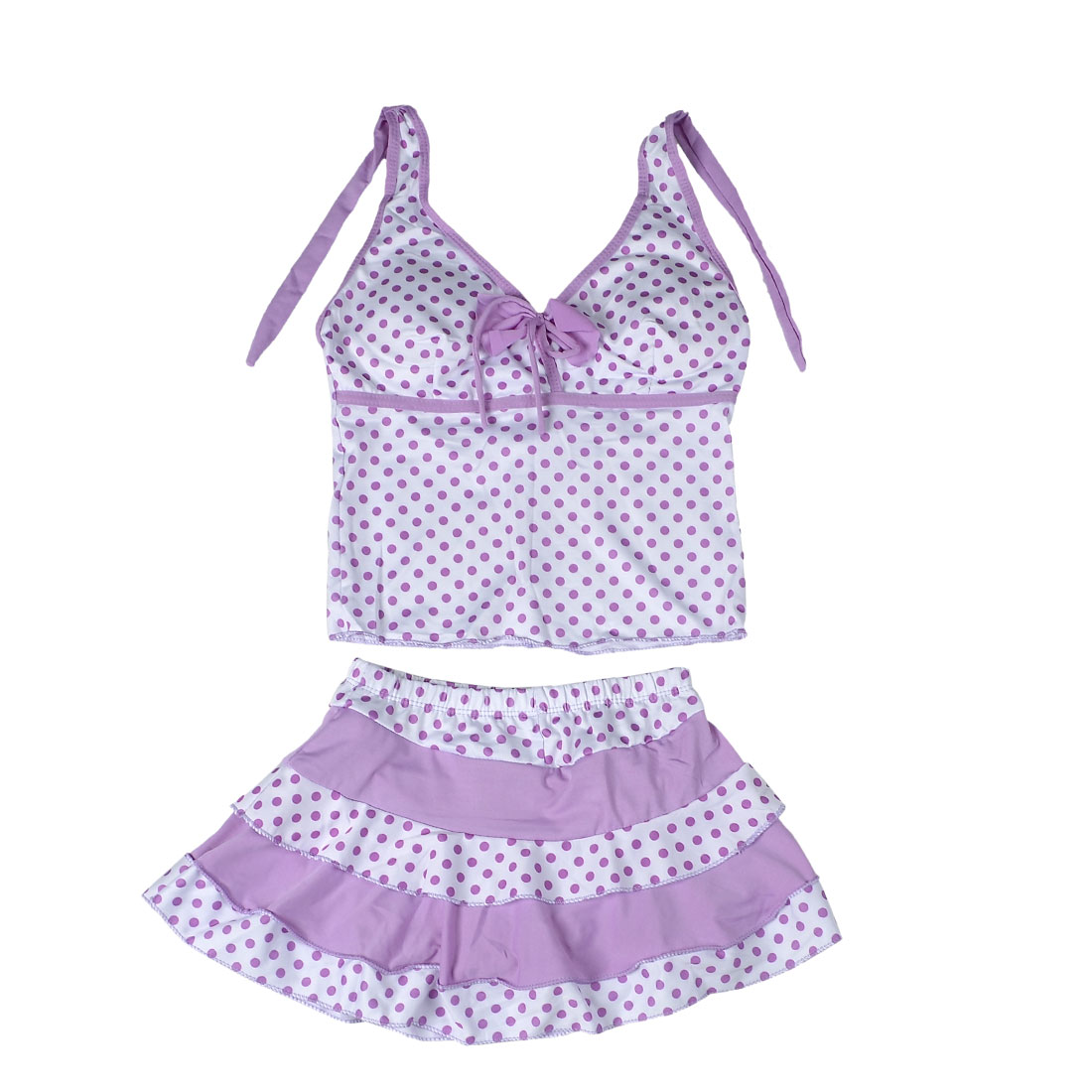 US XL Stretchy Dotted Two Piece Swimwear Tankini Beachwear Purple for Kids Girls
