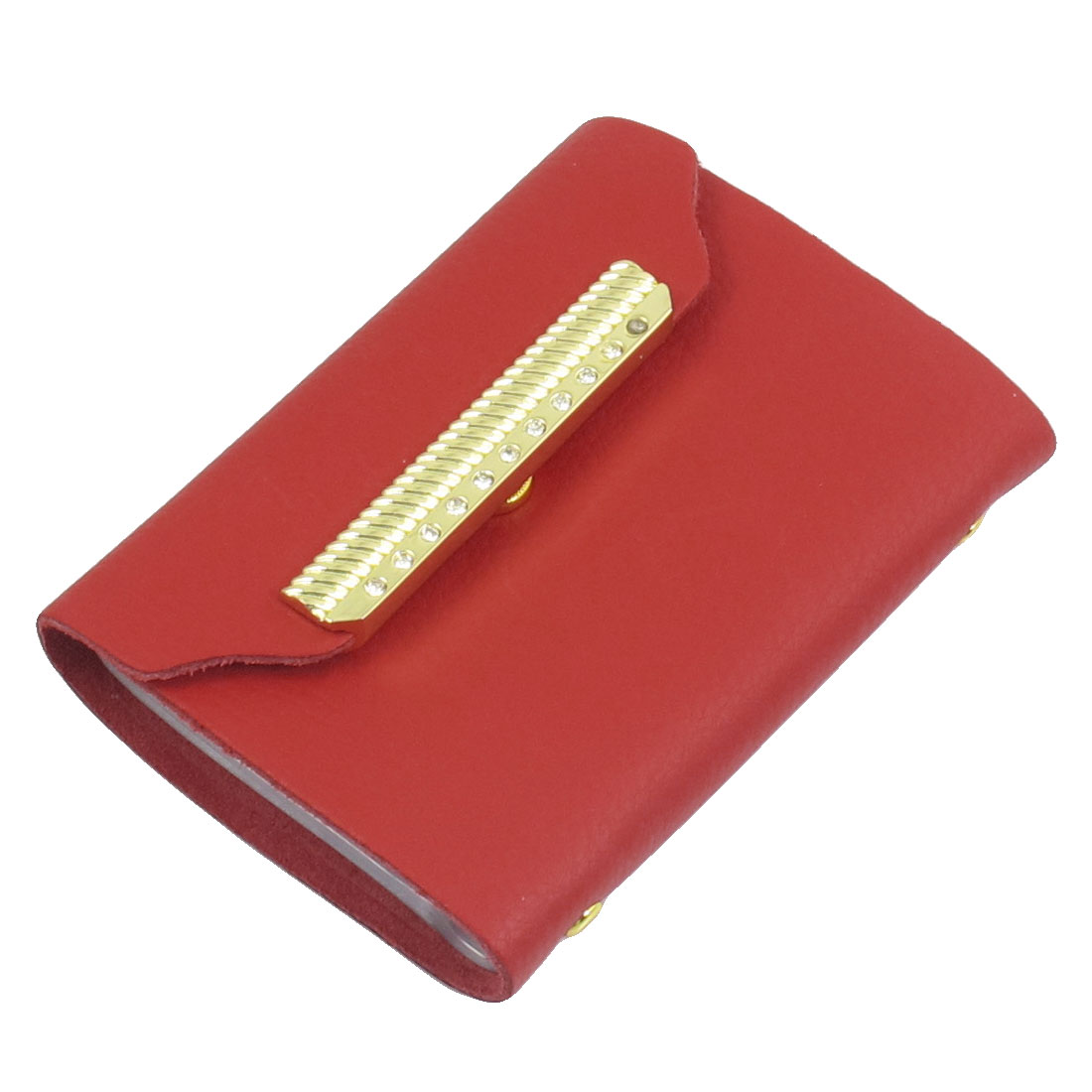 Ladies Red Faux Leather Press Stud Bank Credit Card Case Holder