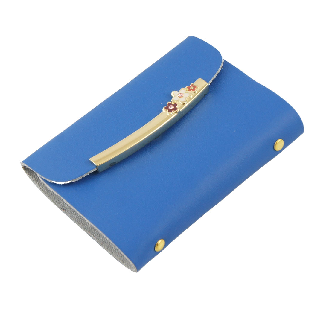 Dodger Blue Faux Leather Gold Tone Metal Accent Name Card Holder
