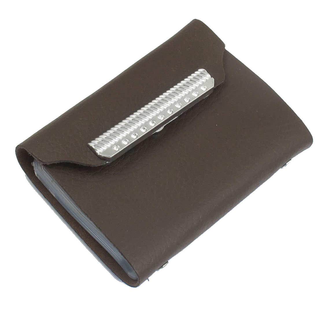 Coffee Color Silver Tone Rhinestones Decor Faux Leather Bank Credit Card Pocket Case Holder