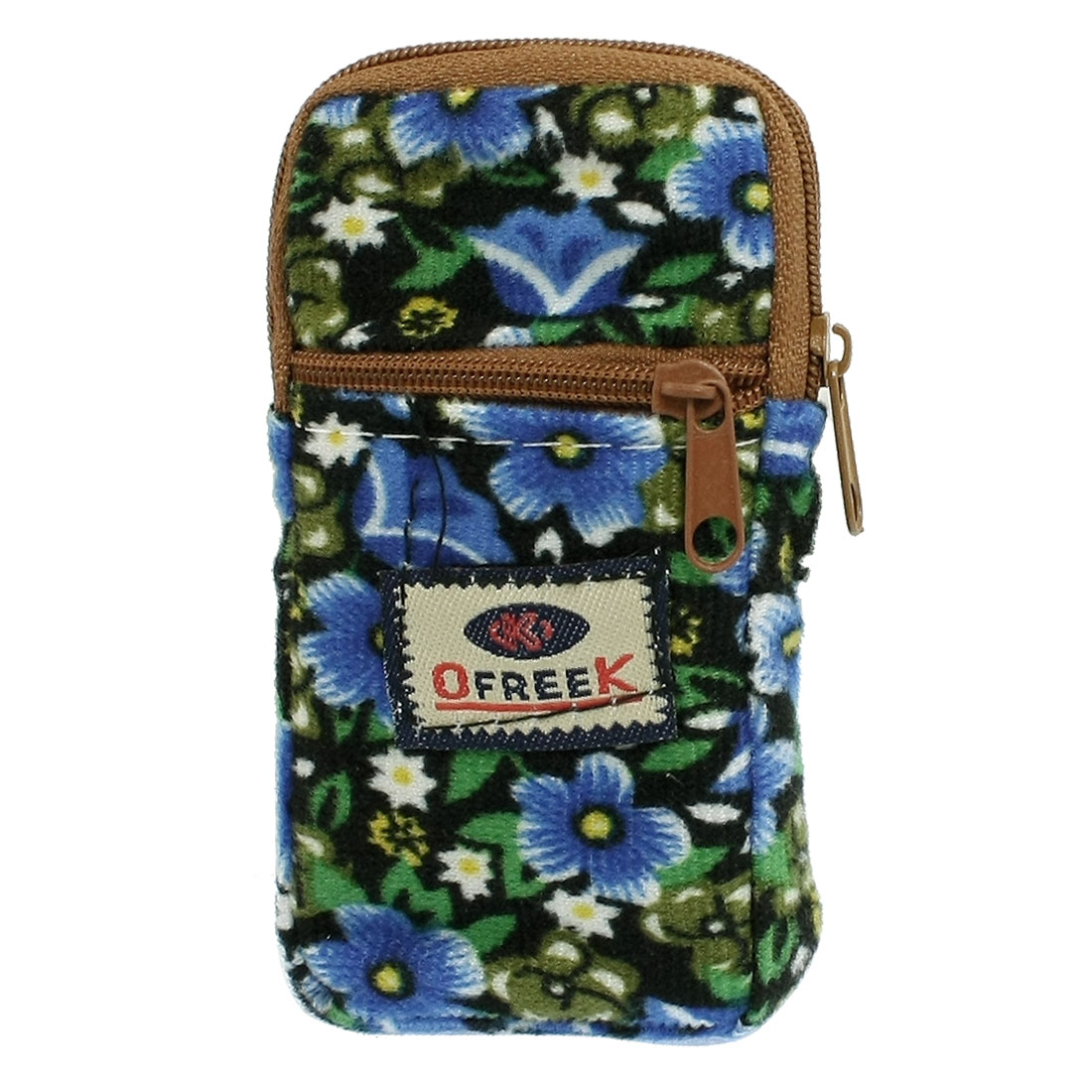 Blue Flowers Print 2 Compartments Zip Closure Cell Phone Pouch