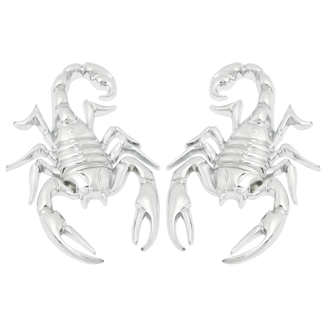 2 Pcs Car Exterior Decorative Metal Scorpion Shape Badge Sticker Silver Tone