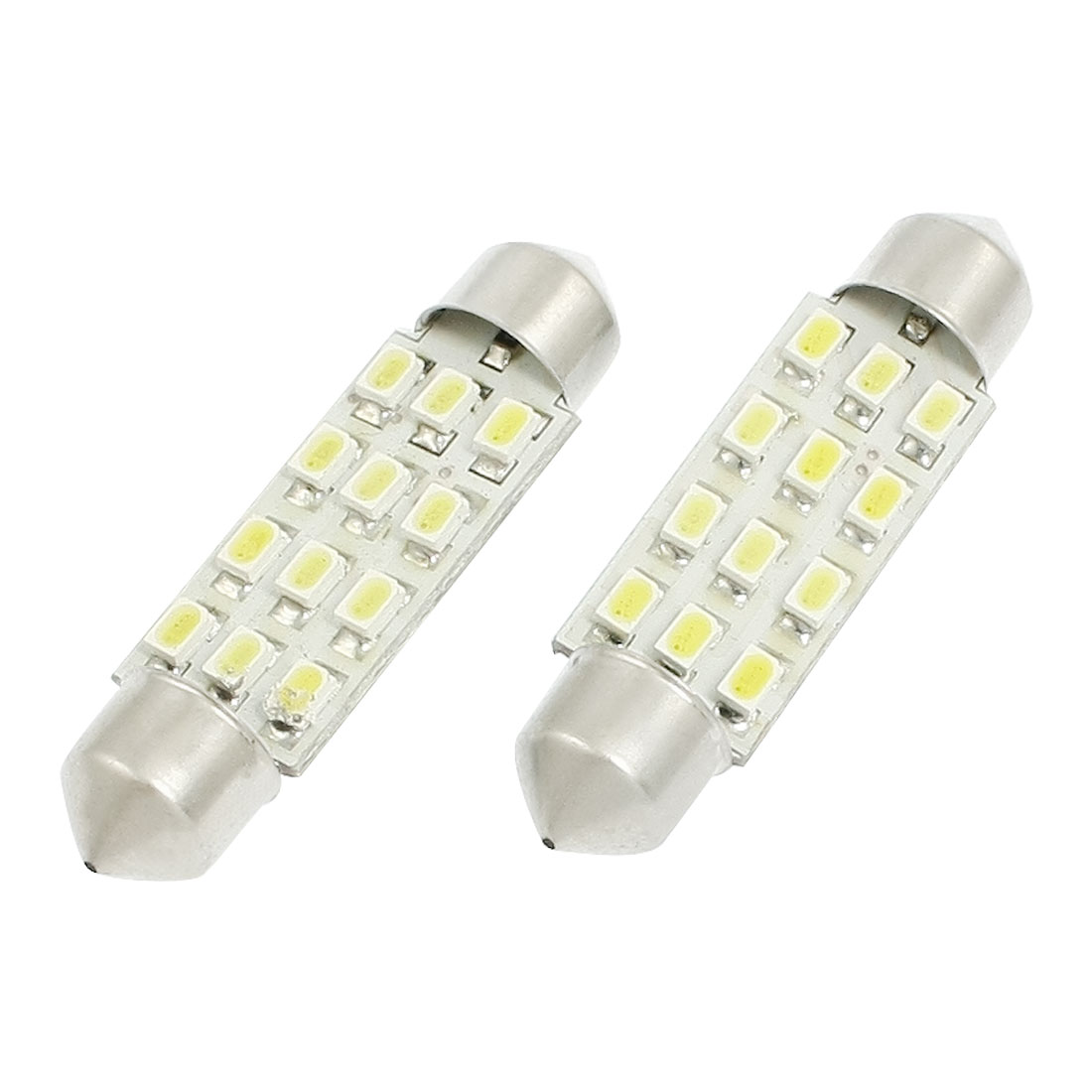 2 Pcs LED 41mm 3020 1206 SMD 12 LED Light Dome Light White