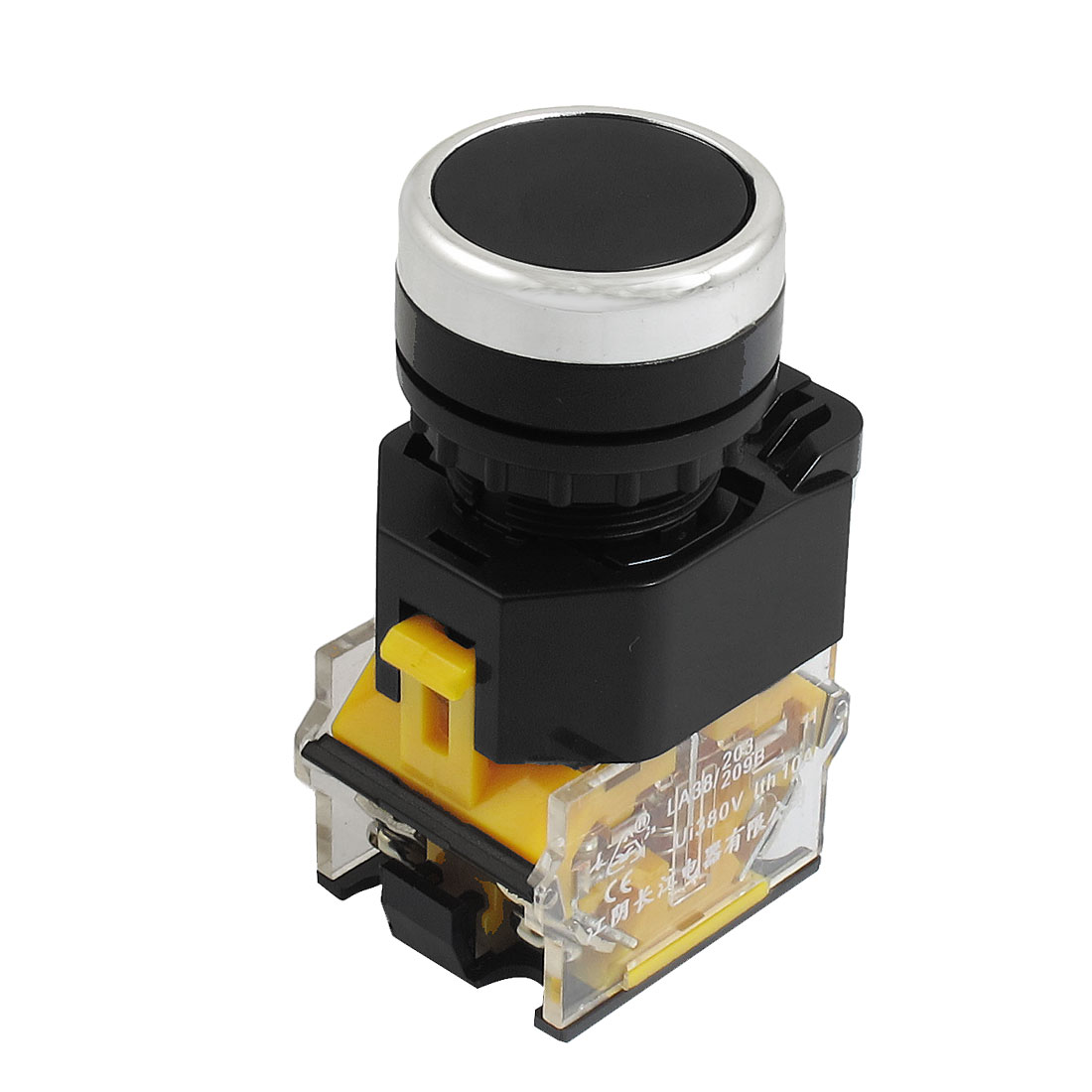 AC 380V 10A 22mm Threaded 1NO 1NC DPST Black Momentary Push Button Switch