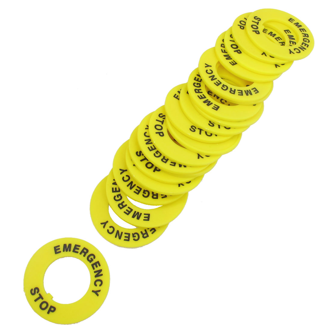 20 Pcs Yellow 22mm Inner Diameter Emergency Stop Ring for Push Button Switch