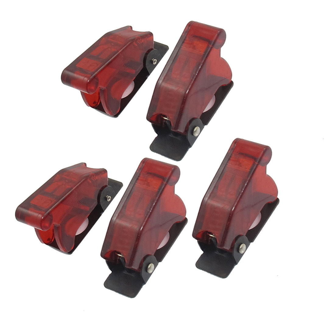 5 Pcs 12mm Mount Dia. Red Safety Flip Cover for Toggle Switch