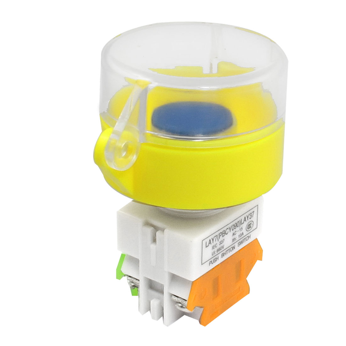 660V 10A 1NO 1NC Momentary Blue Button Yellow Protective Cover Pushbutton Switch