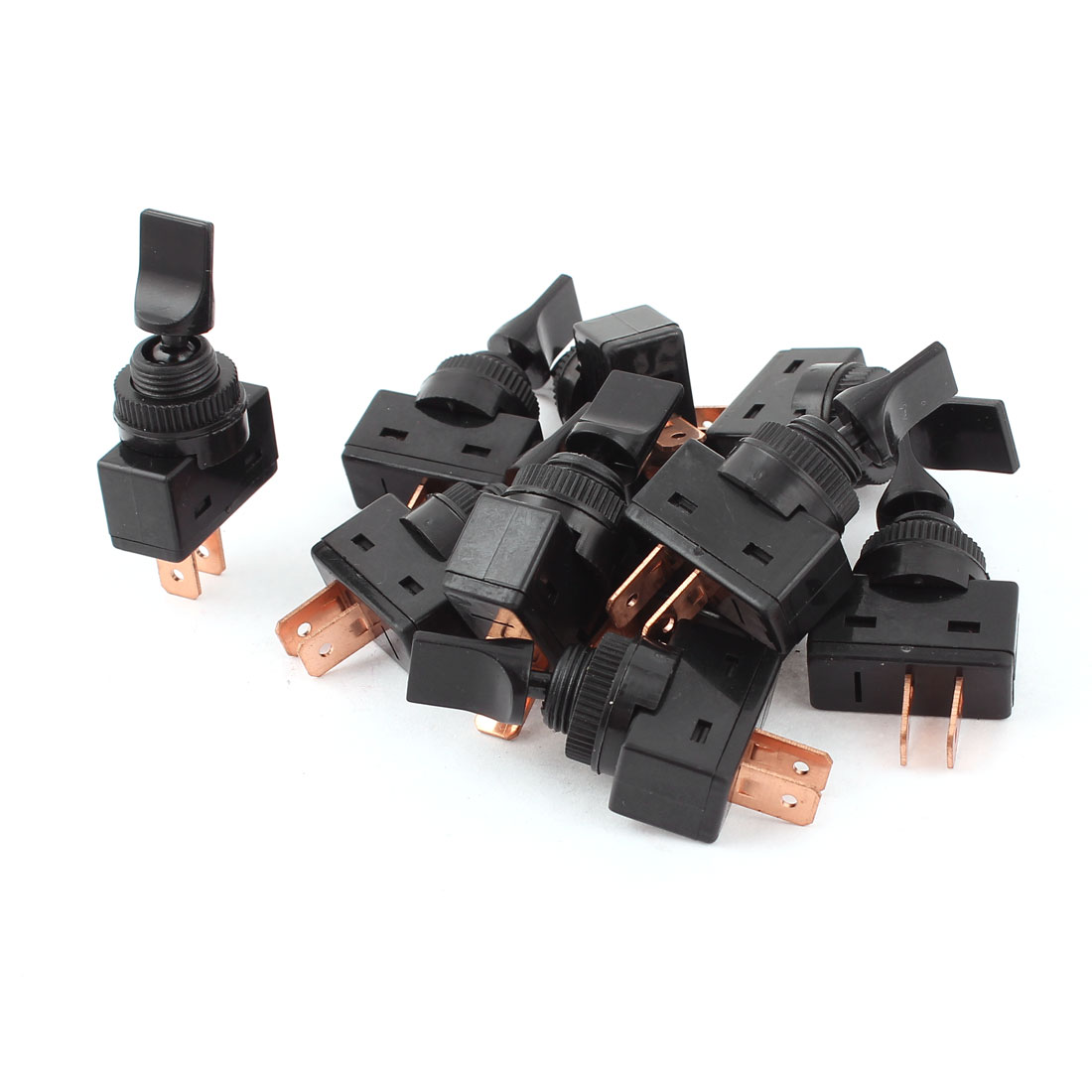 "12VDC 20A Two Position ON/OFF SPST 0.47"" Mount Black Toggle Switch 10 Pcs"