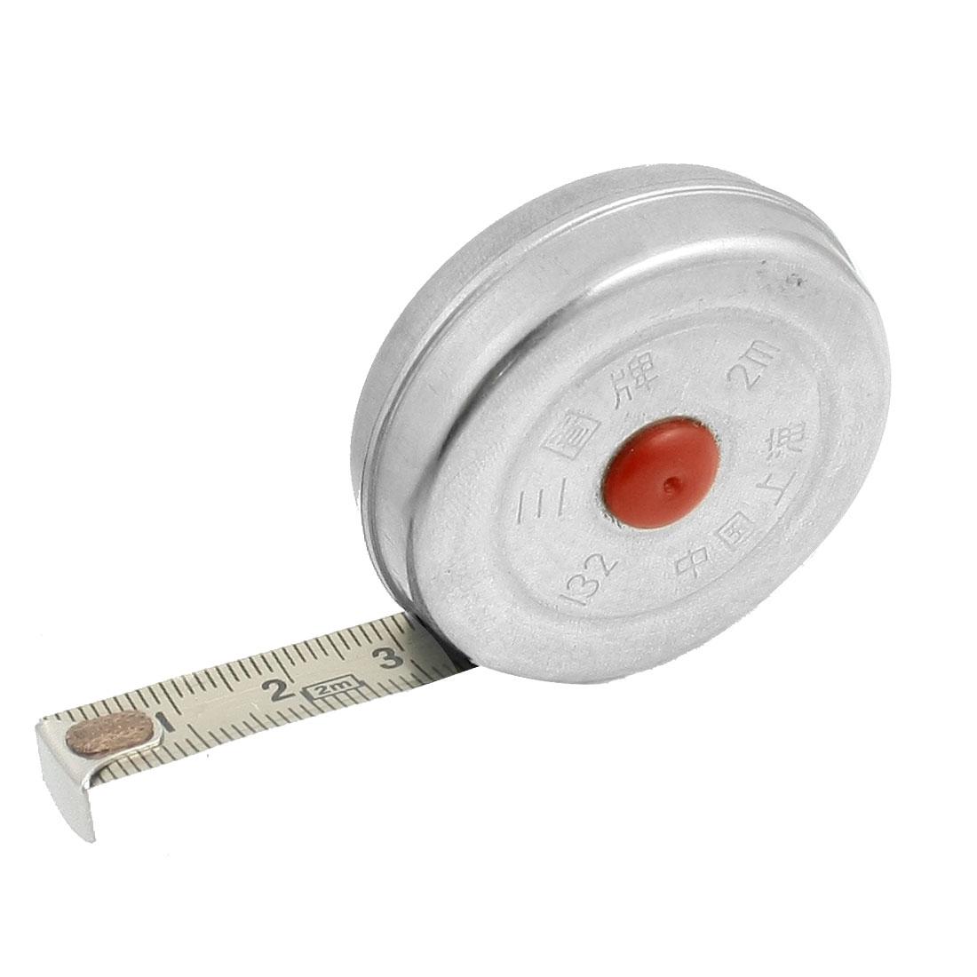 Stainless Steel 2 Meters Pocket Measuring Tape Measure Silver Tone
