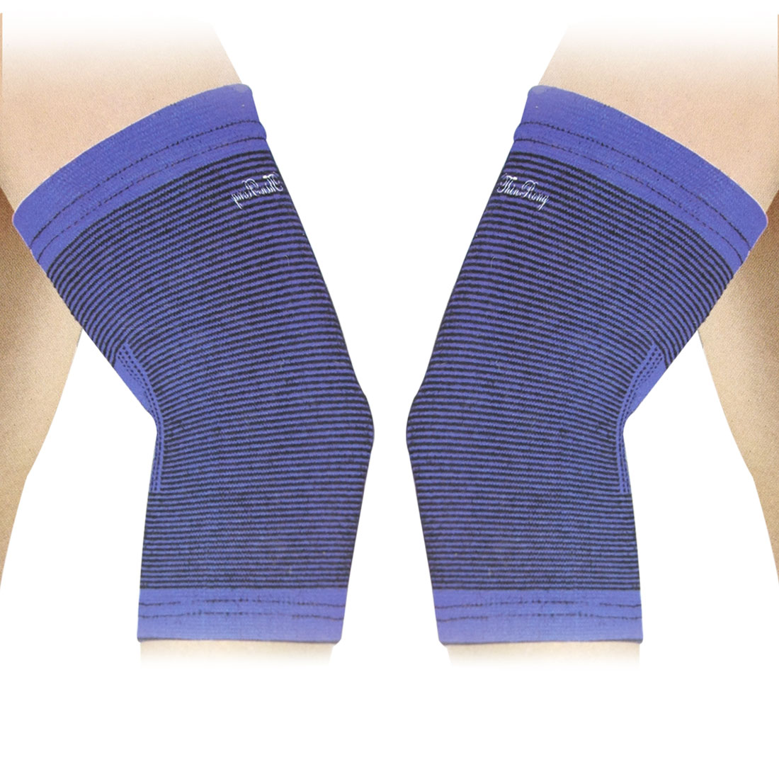 Sports Wear Stretchy Protective Sleeve Elbow Support Brace Blue Black 2 Pcs