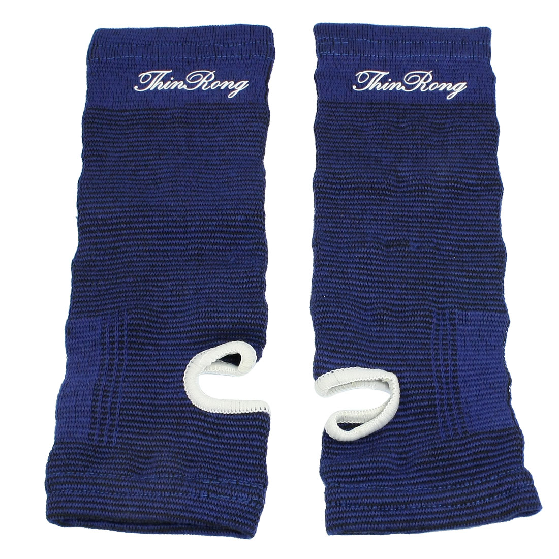 Blue Black Sports Wear Stretchy Sleeve Ankle Support Brace 2 Pcs