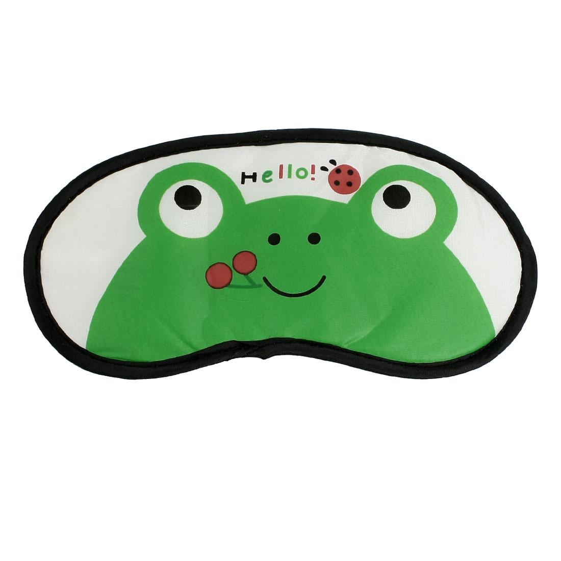 Cartoon Frog Pattern Blindfold Sleeping Eye Shade Mask Patch Green White