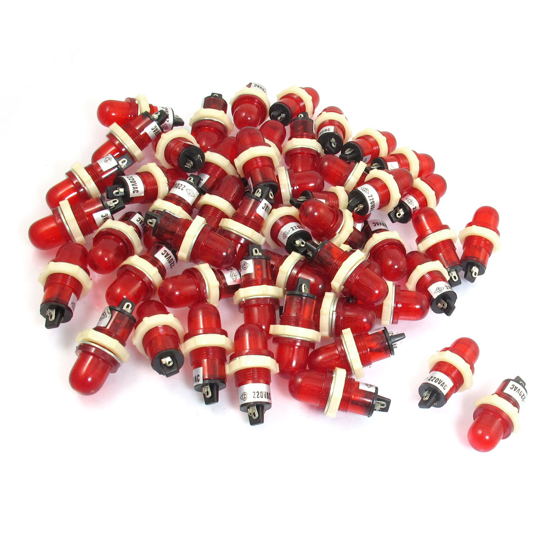 50 Pcs AC 220V 15mm Round Head Red Power Indicator Signal Pilot Light XD15-2