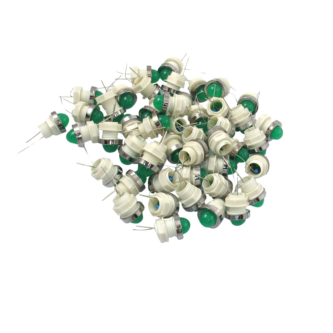 50 Pcs 10mm Threaded 24VDC Green LED Lamp Indicator Pilot Light AD11-10/20