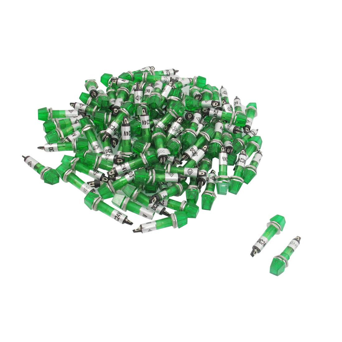 100 Pcs DC 24V 7mm Trapezoid Green Bulb Power Signal Indicator Light Pliot XD7-2