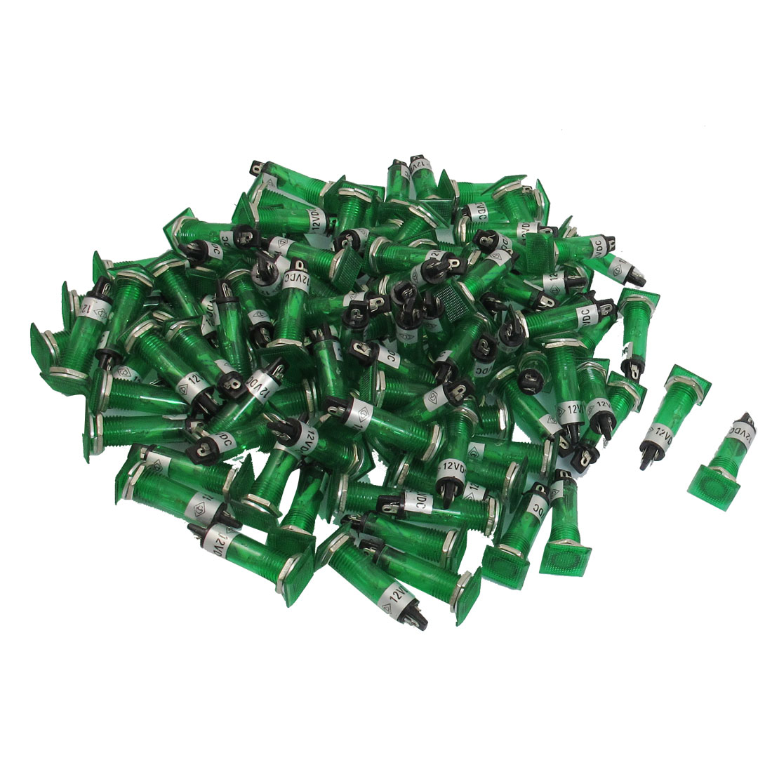 100 Pcs DC 12V 10mm Green Bulb Power Signal Indicator Light Pilot Lamp XD10-2
