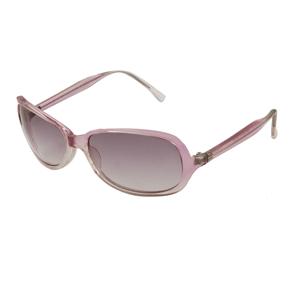 Woman Rectangle Lens Pink Beige Plastic Full Frame Sunglasses
