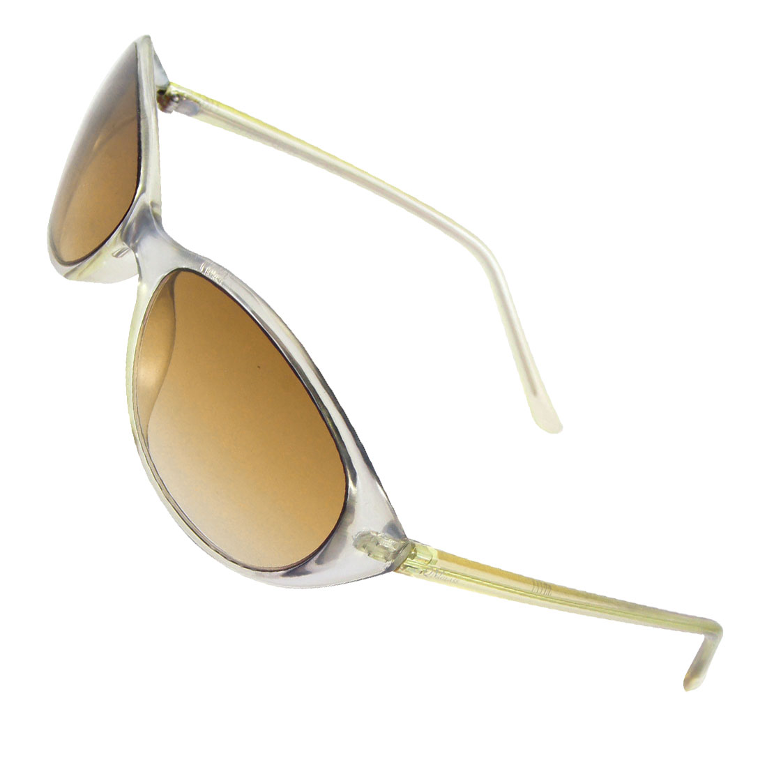 Lady Women Plastic Silver Tone Full Rim Frame Sunglasses