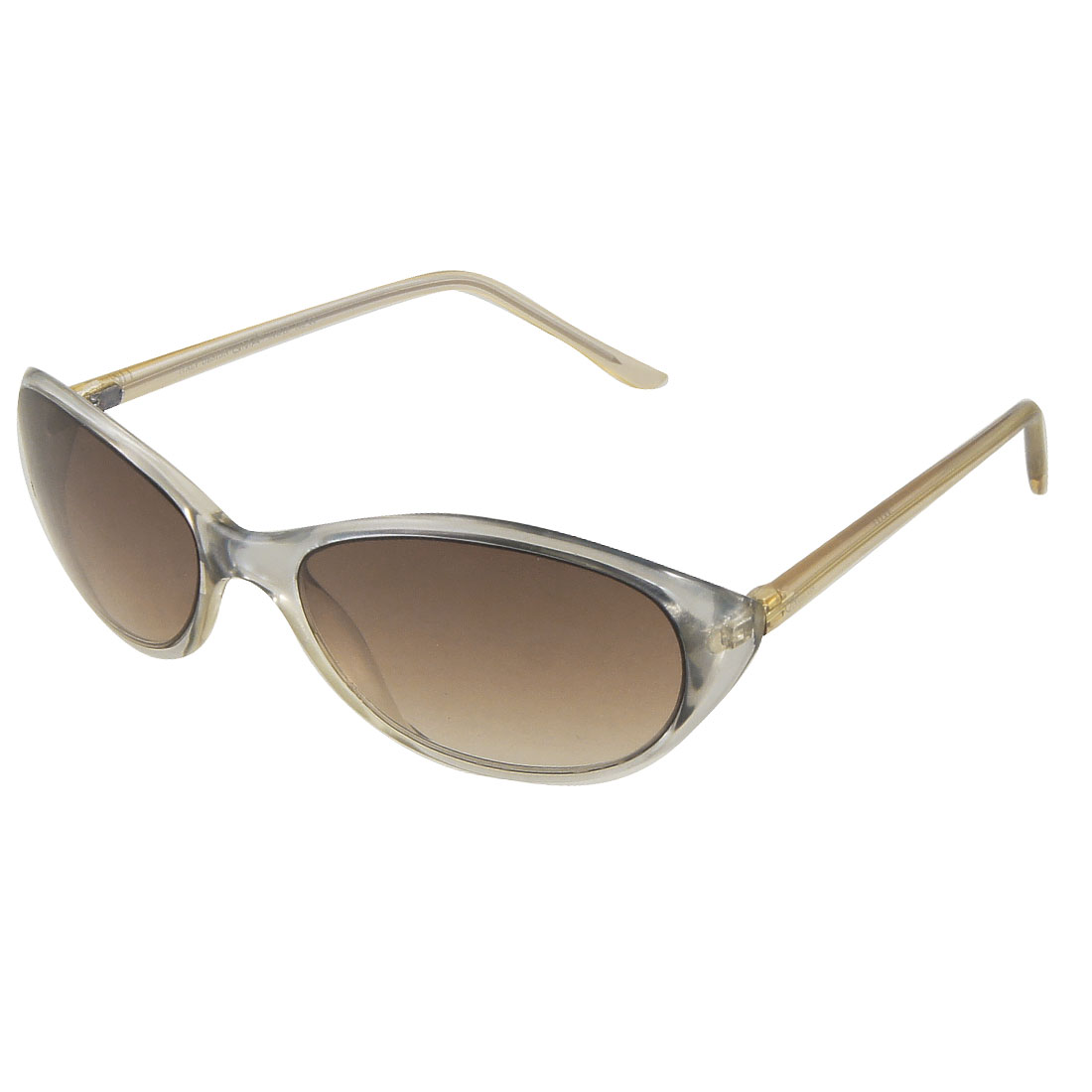 Women Plastic Full Rim Frame Sunglasses Clear Khaki