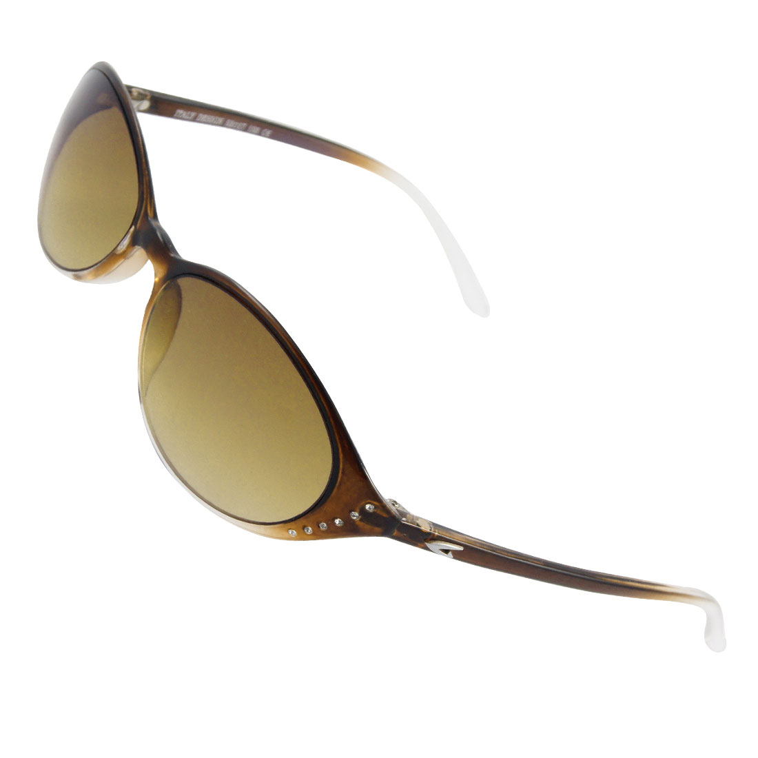 Lady Dark Brown Clear Plastic Full Rim Sports Sunglasses