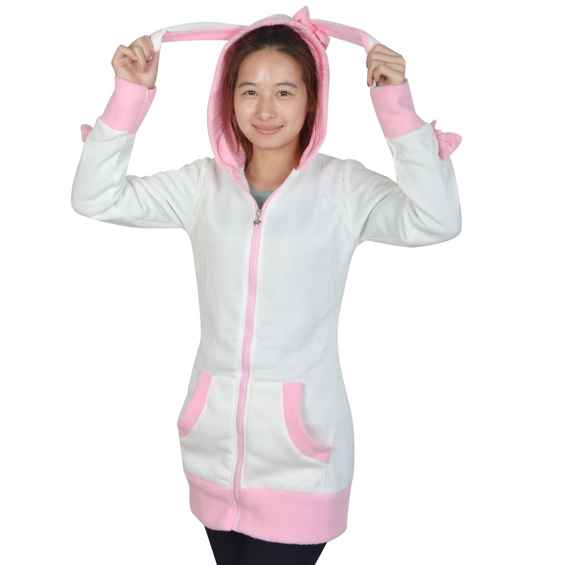 Women White Long Sleeve Zipper Super Cute Bowknot Decor Hoodie Coat XS