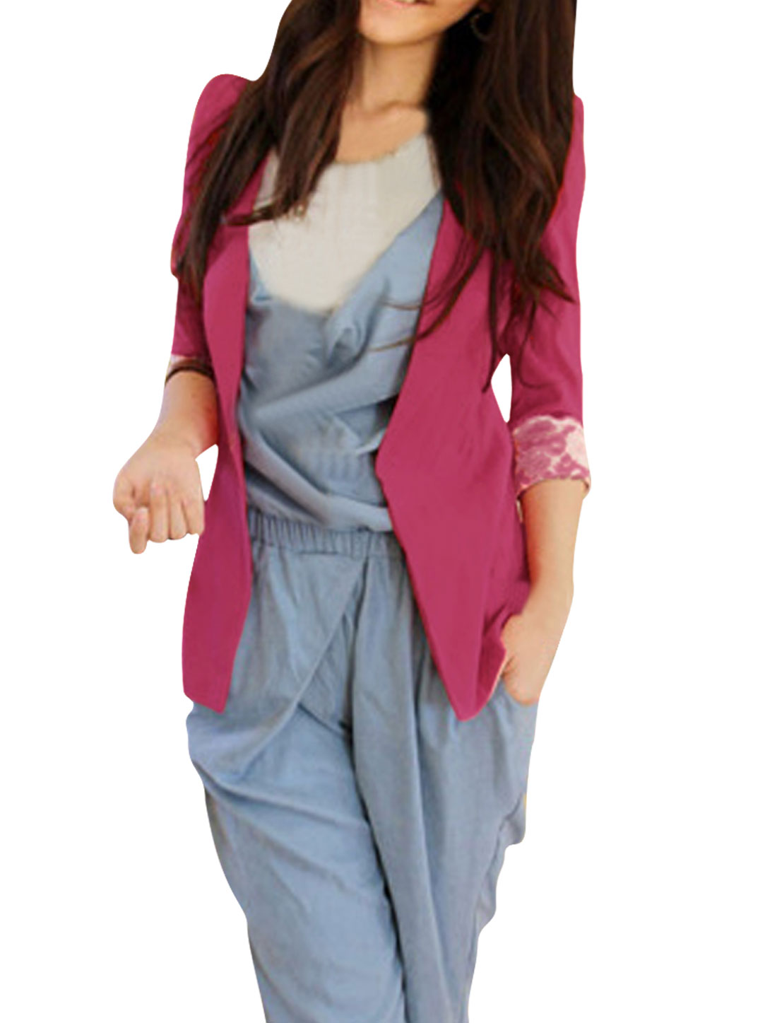 Women Rose Red Front Opening 3/4 Sleeve Padded Shoulder Blazer XS