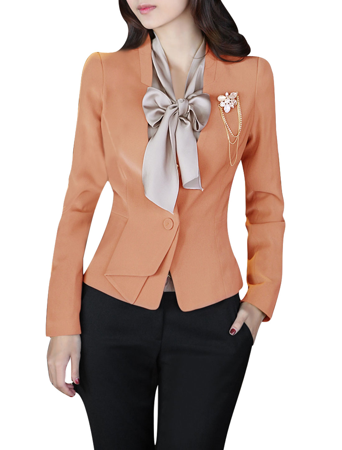 Ladies Stand Collar Long Sleeve One Button Blazer Salmon Pink S