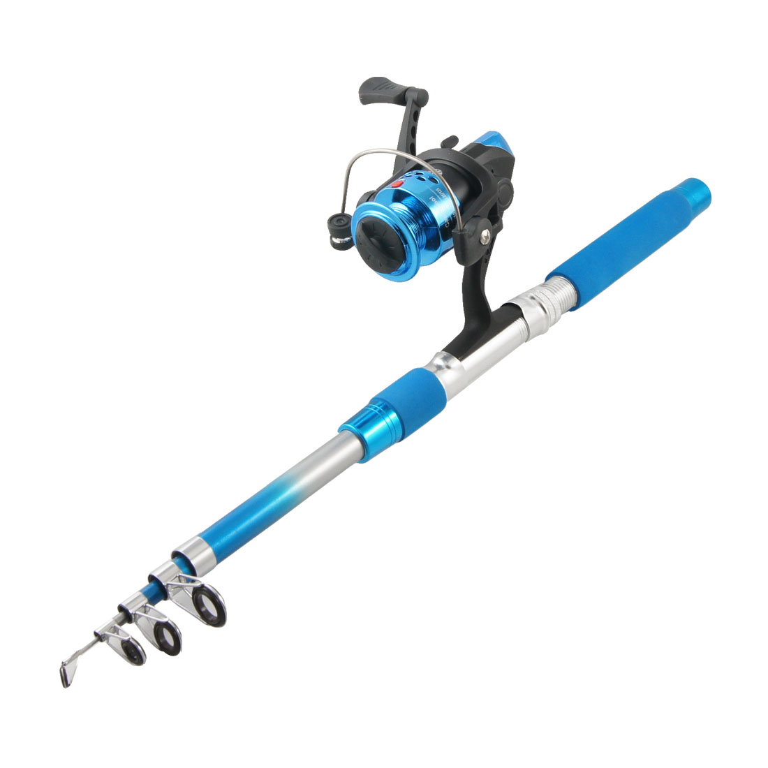 Blue Handle Retractable Fish Rod 1.8M 5.9Ft w Gear Ratio 5.2:1 Spinning Reel