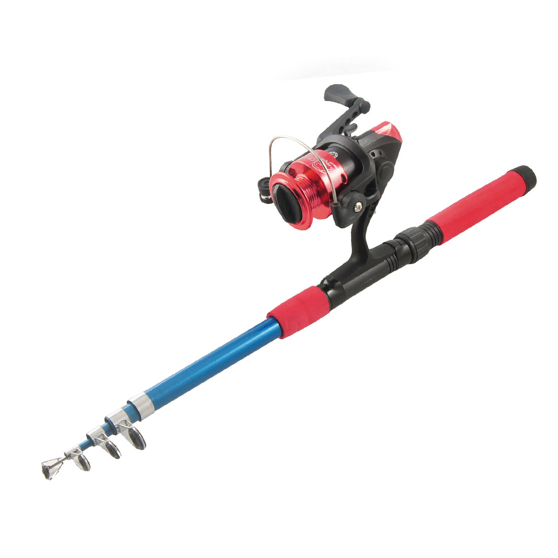 Red 5 Sections Retractable Fish Rod 1.65M w Gear Ratio 5.2:1 Spinning Reel