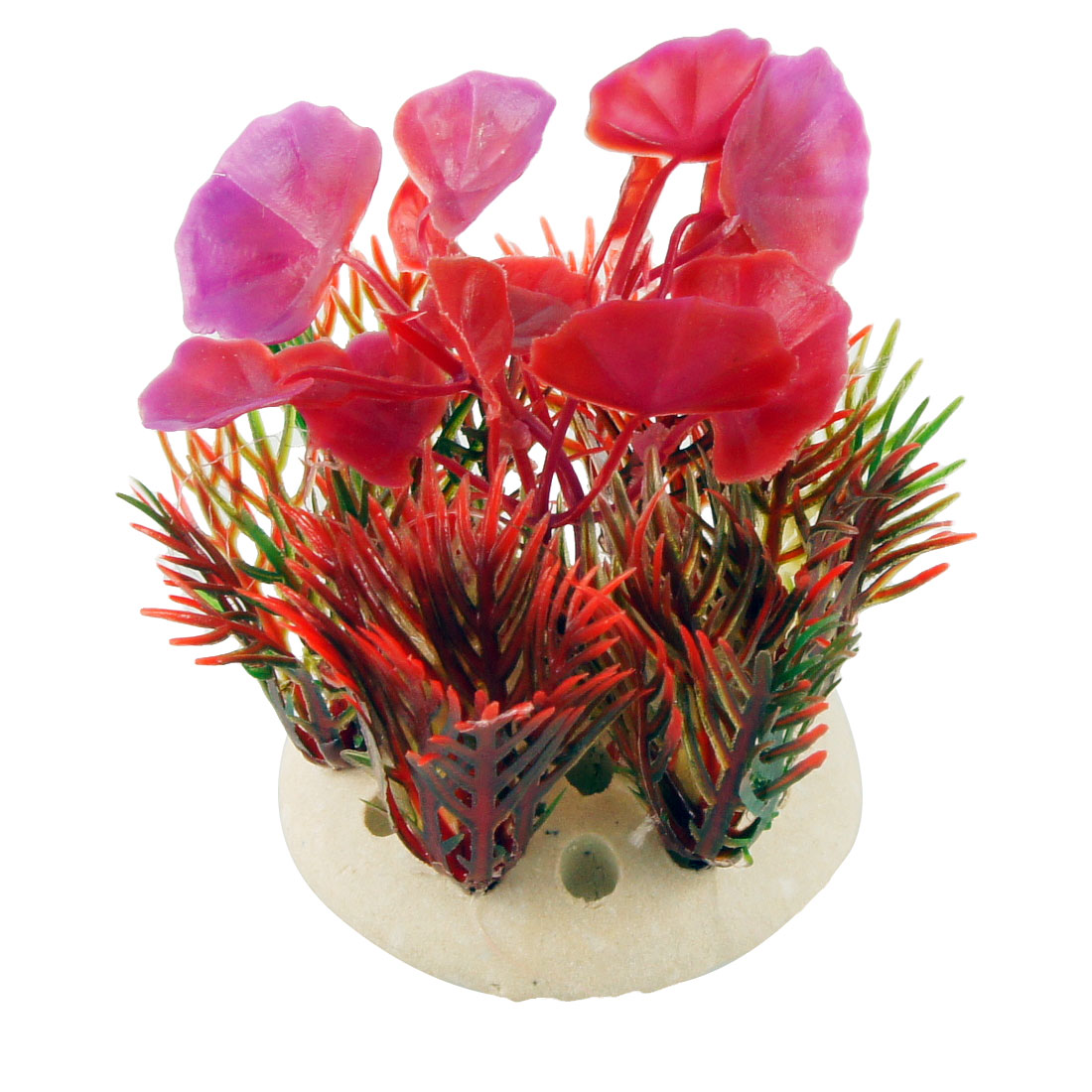 "3"" Red Fuchsia Emulational Leaves Float Grass Aquarium Ornament w Round Base"