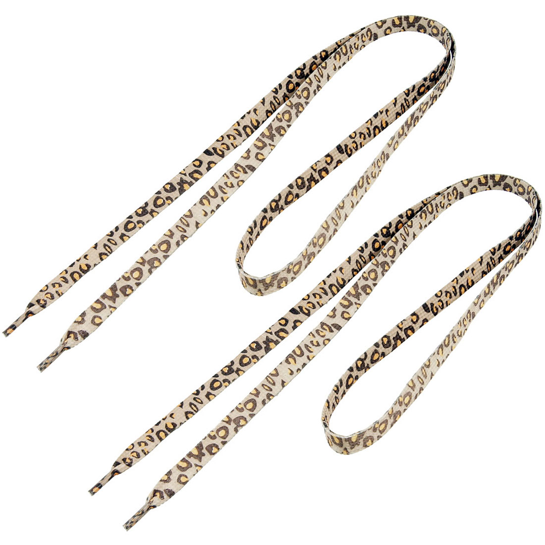 1 Pair Leopard Pattern Khaki Flat Shoelaces Shoe Strings For Sneakers