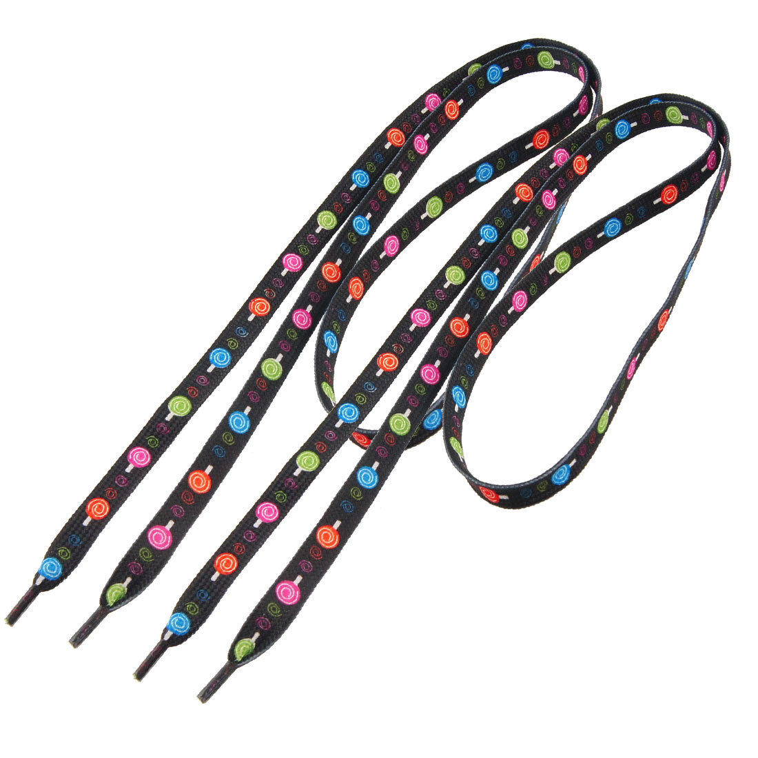 Black Lollipop Prints Flat Shoelaces 1 Pair for Sports Shoes