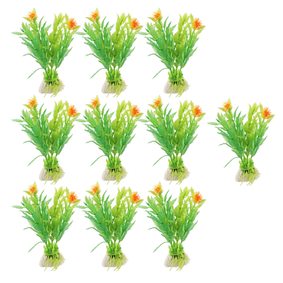 "10 Pcs 3.5"" Aquarium Ornament Artificial Orange Flowers Green Leaves Grasses"