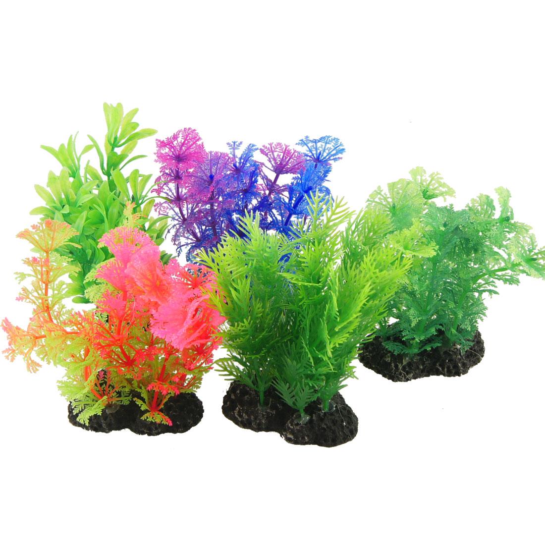 "5 Pcs Fish Tank Adorn Pink Blue 4.7"" Plastic Grass w Black Base"
