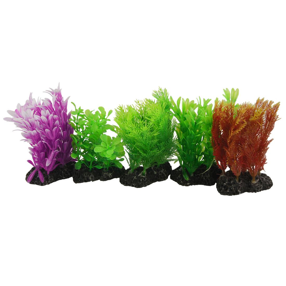 "5 Pcs Aquarium Decor Fuchsia Green 4.7"" Manmade Plastic Grass Water Plants"