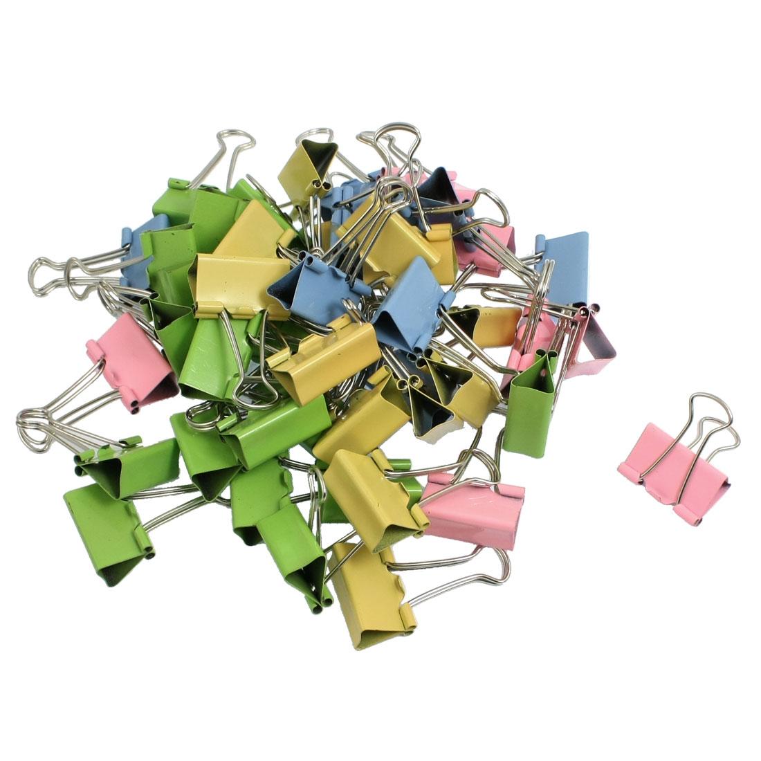 Office 25mm Width Assorted Color Metal Binder Clips 48 Pcs