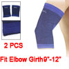 Blue Black Sports Wear Stretchy Sleeve Elbow Support Brace 2 Pcs
