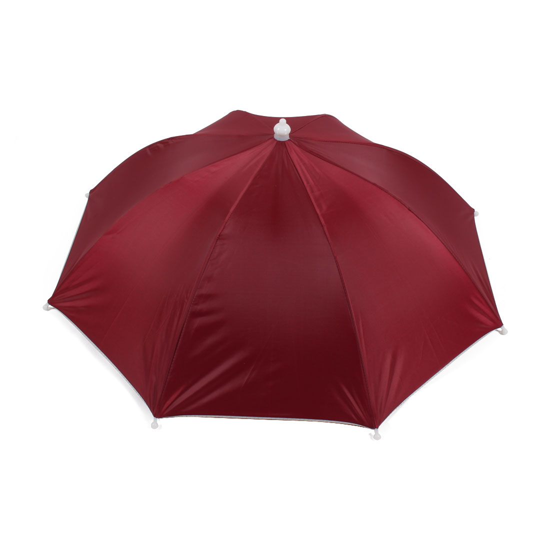 Outdoor Fishing Handsfree Umbrella Hat Headwear Burgundy