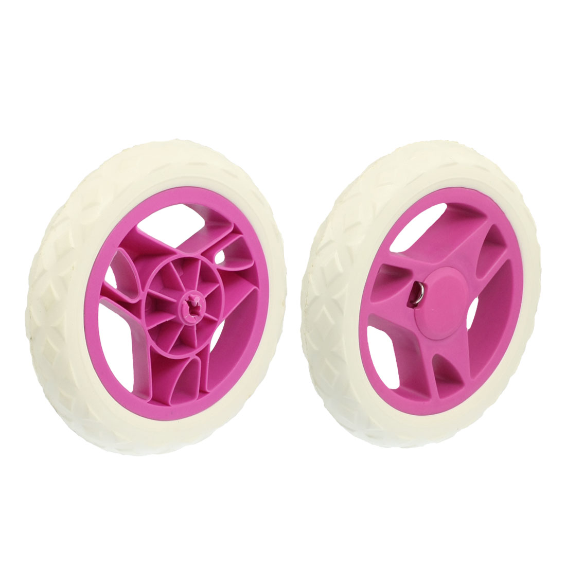 2 Pcs Interchangeable Shopping Trolley Travelling Cart Wheels White Fushia